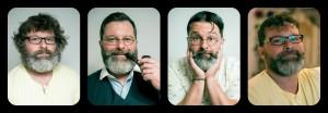 Filip ve všech fázích stříhání - muž pralesní - pan továrník - pan účetní - Filip v civilu